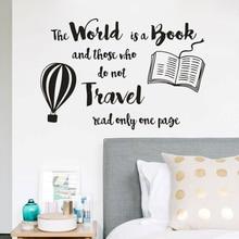 Book Reading Wall Sticker World Is Quote Decals Library Decor Hot Air Balloon Design Vinyl Window Stickers AZ058