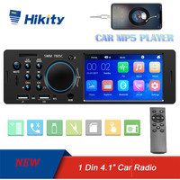 Hikity Autoradio 1 Din Car Radio HD Touch screen Audio Stereo Bluetooth FM AUX MP5 Player Support Camera Multimedia Video Player