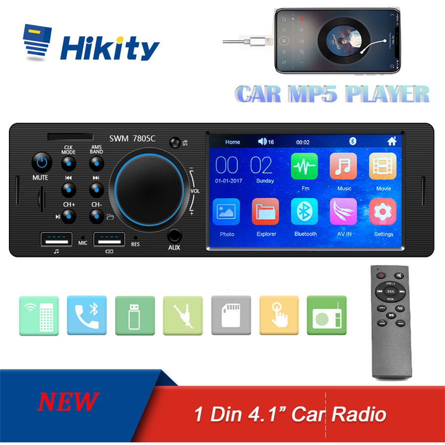Hikity Autoradio 1 Din Car Radio HD Touch screen Audio Stereo Bluetooth FM AUX MP5 Player Support Camera Multimedia Video Player image