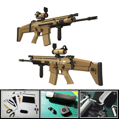 цена Classic SCAR Combat Assault Rifle 1:1 Scale 3D Paper Model Cosplay for Kids Adults Gun Weapon Handmade Toy