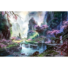 DIY Алмазная картина Круглая Полная Алмазная вышивка узор украшение дома Алмазная мозаика фантазийный пейзаж KBL