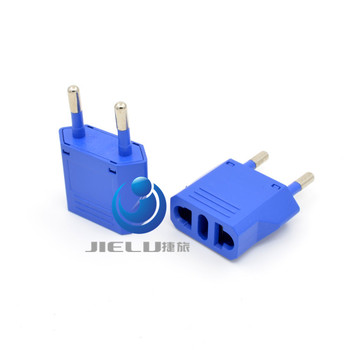 2016 EURO(Type C)plug Outlet Travel Adaptor Plug,Type C for most of Europe,Swiss,Italy,Chile Adaptor Plug blue 4.0MM