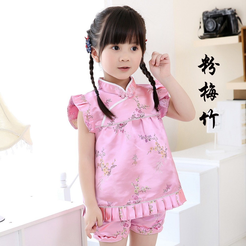 hot sale baby clothes sets Qipao suit toddler outfits top quality dress panties
