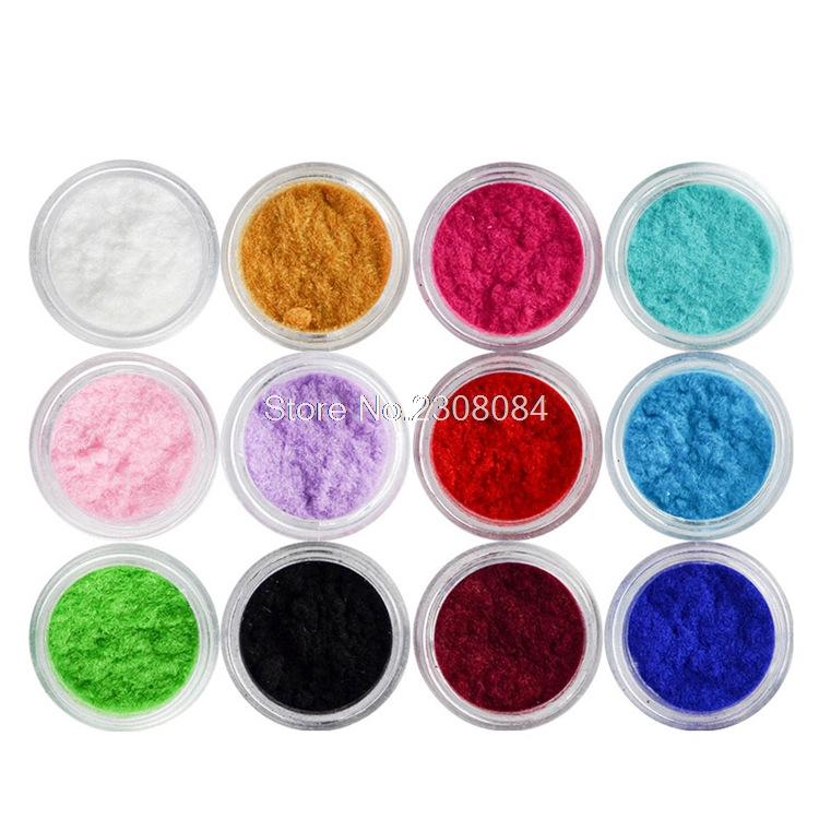 Ny 12 Färg Velvet Glitter Nail Art Färg Nail Powder Pigment Flocking Velvet Pigment För DIY Decoration Nails Glitter