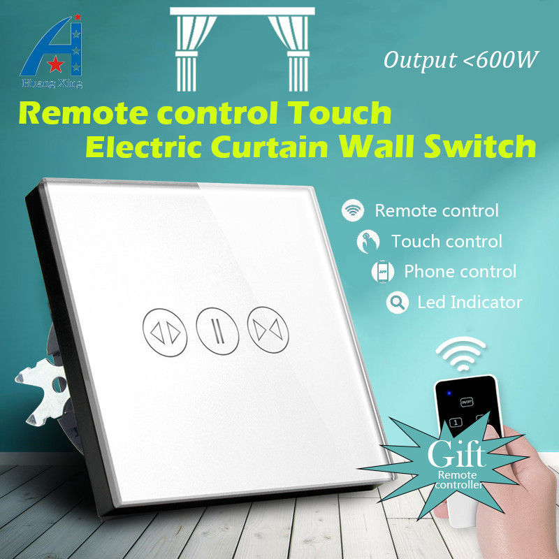 New Wireless 600W Electric Touch Curtain Wall Switch EU Standard 80 type Tempered Glass Panel With