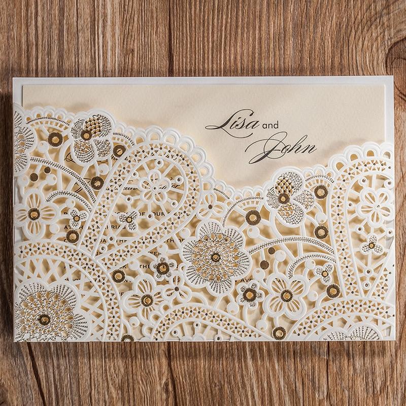 hollowed foil laser cut flower brown wedding invitation cards engagement anniversary cards bing crystal envelopes seals - Elegant Wedding Invitations With Crystals