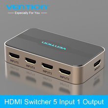 ФОТО vention hdmi switch 5 in 1 out with ir wireless remote hdmi splitter switcher ac power adapter for chromecast for ps3/4 3d hdcp