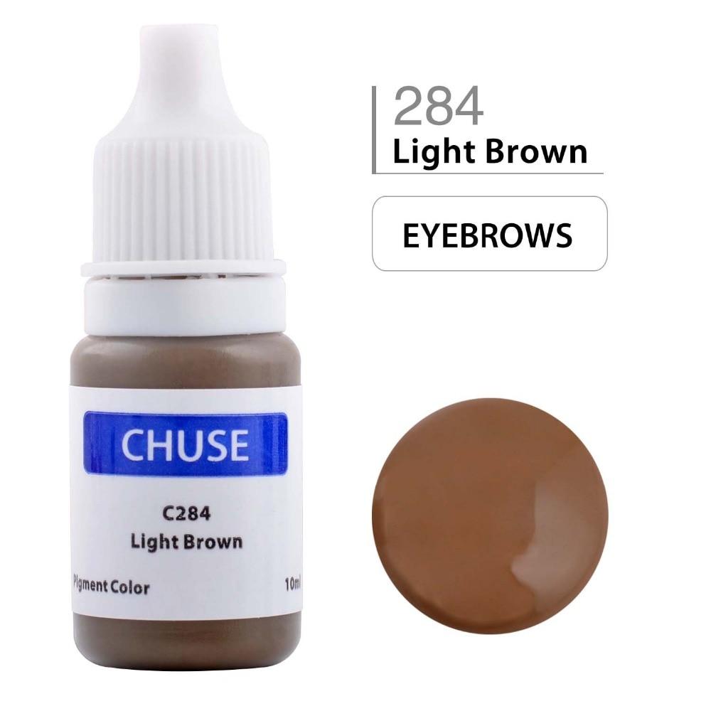CHUSE Tetan Makeup Dakwat Eyeliner Tatu Dakwat Set Kening Microblading Pigmen Profesional Encre A Levre 10ML Light Brown C284