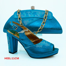 Sky Blue Color African Shoe and Bag Set for Party In Women High Quality Italian Matching Shoes and Bag Sets for Wedding  CP63010