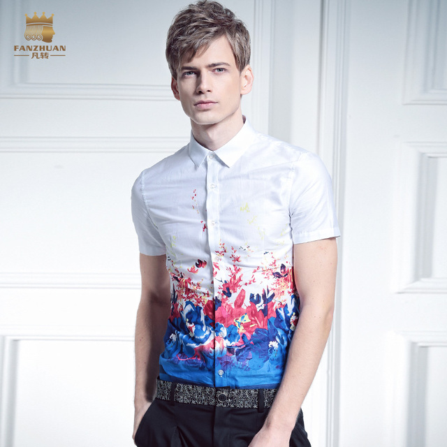 Free shipping New male Summer Men's casual shirts white palace slim printed male cotton shirt On Sale
