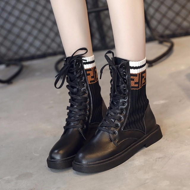 2018 New Women's Mid Calf Rain Boots Soft Autumn Lace Up Oxford Martin Shoes Woman Ladies Platform Heels PU Footwear 1