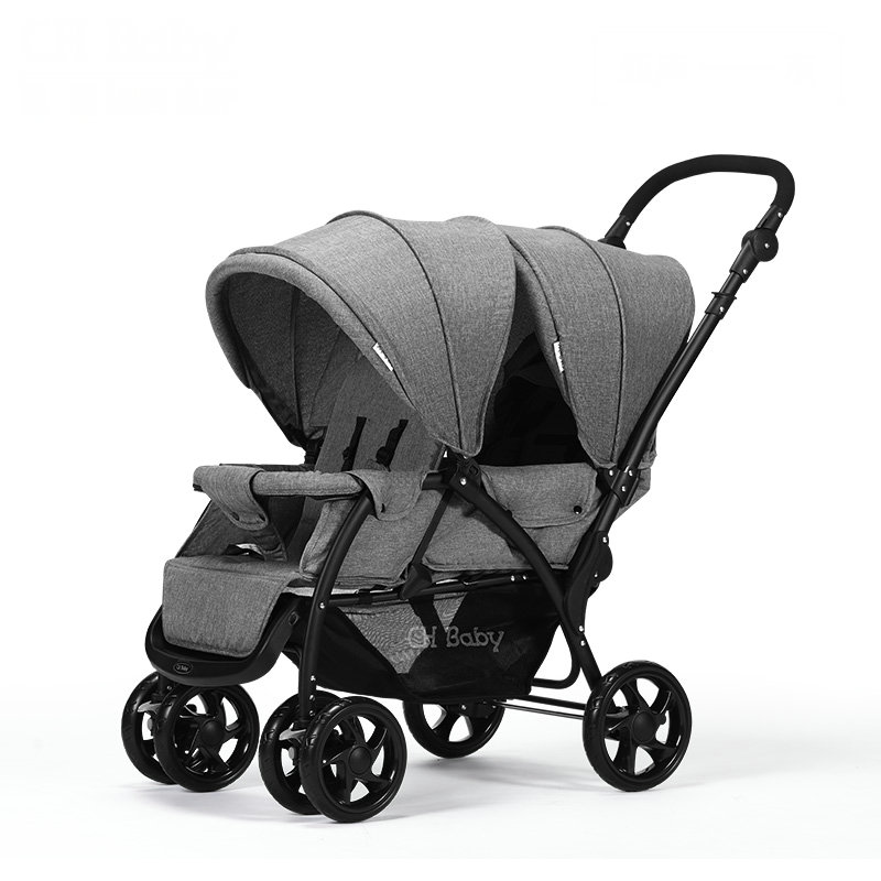 Foldable Twins Stroller With Adjustable Handrail, Can Sit Can Lie 2 Kids Pushchair, Portable Carriage Easy To Push Into ElevatorFoldable Twins Stroller With Adjustable Handrail, Can Sit Can Lie 2 Kids Pushchair, Portable Carriage Easy To Push Into Elevator