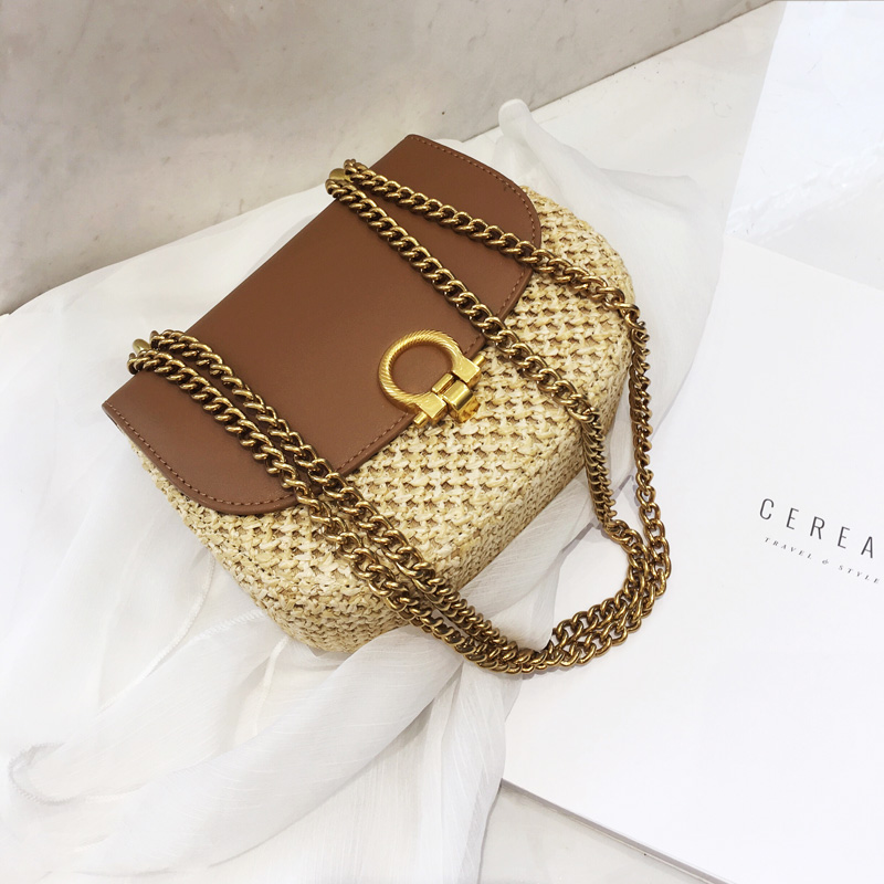 2019 new woven women's bag stitching saddle bag retro versatile one-shoulder chain crossbody small bag women's bag