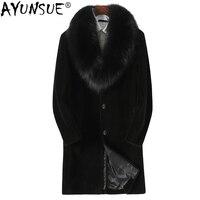 AYUNSUE Sheep Shearing Real Fur Coat Men Winter Jacket 100% Wool Coat Real Fox Fur Collar Genuine Leather Parka Hombre KJ810