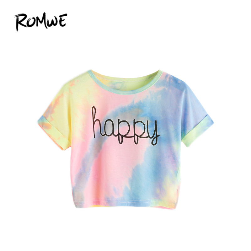 ROMWE Happy Rainbow Pastel Tie Dye T-shirt, vrouwen Letter Print Tee, Beach-to-Bar, Night Club Party korte gewassen T-shirts, 2018 zomer
