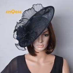 Zwart BIG sinamay hoed Schotel tovenaar crin tovenaar voor races, bruiloft, kentucky derby.