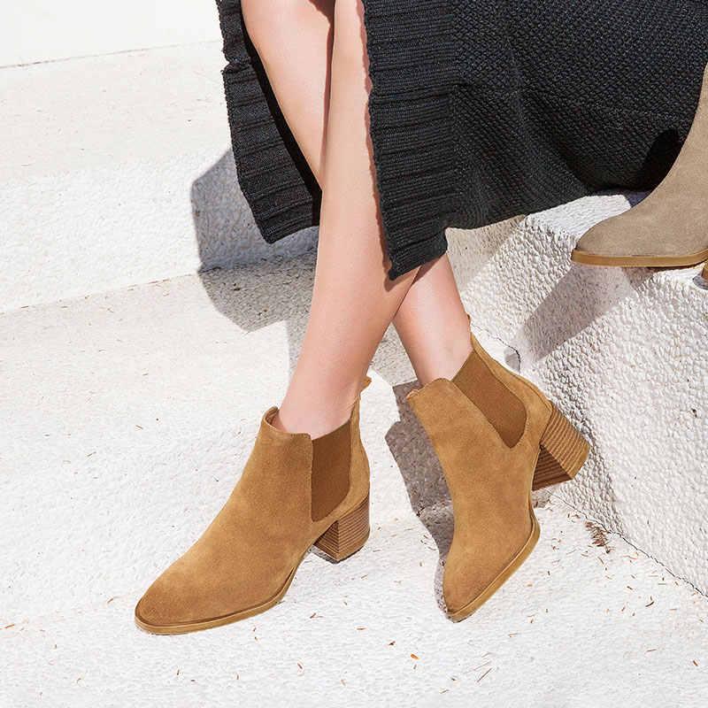 BeauToday Kadınlar Yüksek Topuk Chelsea Çizmeler Inek Süet Deri Sivri Burun Elastik Bant Sonbahar Bayanlar yarım çizmeler El Yapımı 03324