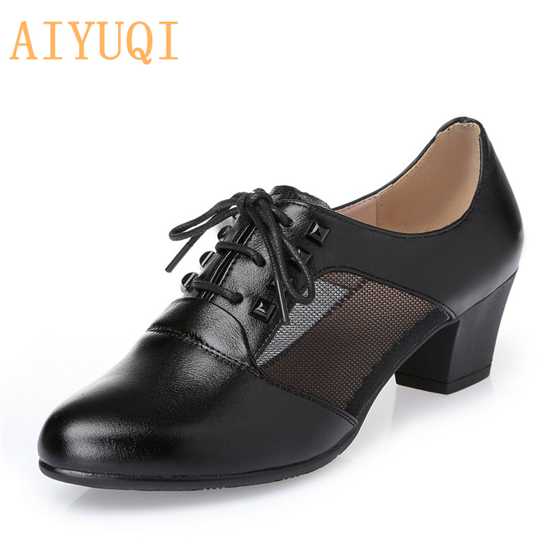 AIYUQI 2019 New women shoes genuine leather Fashion mesh lace up sneakers for Casual Shoes Women Air Mesh Breathable