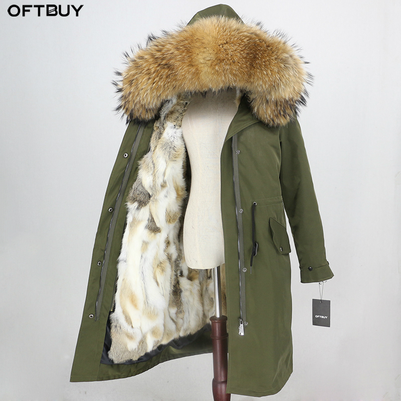 OFTBUY 2019 Waterproof Outerwear X-long Parka Winter Jacket Women Real Fur Coat Natural Raccoon Fur Hood Real Rabbit Fur Liner