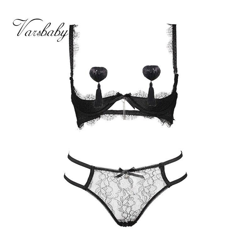 Varsbaby Women's Sexy Solid Half Cup Underwear Underwire Lash Lace Bra Sets