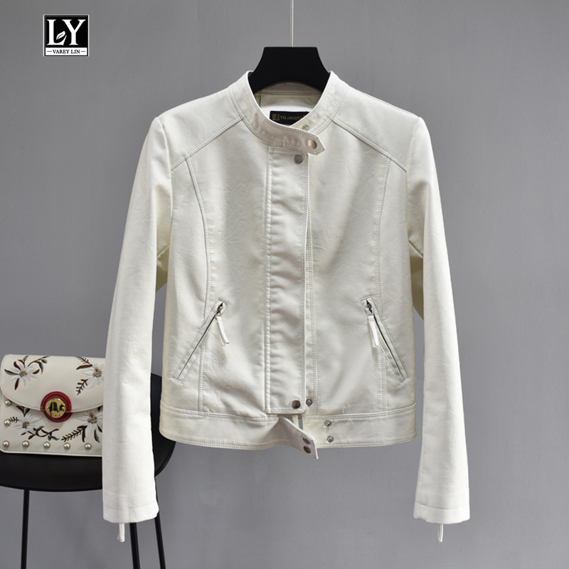 Ly Varey Lin Spring Women Faux Soft   Leather   Stand Collar Jacket Pu Motorcycle Black White Coat Female Faux   Leather   Outerwear