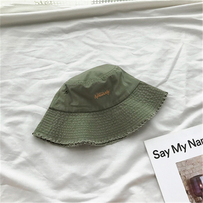 Cotton Hand Embroidered Letters Fisherman Hat Summer Outdoor Women 39 s Hat Harajuku Bucket Cap Panama Fashion Sun Hat UV in Women 39 s Bucket Hats from Apparel Accessories