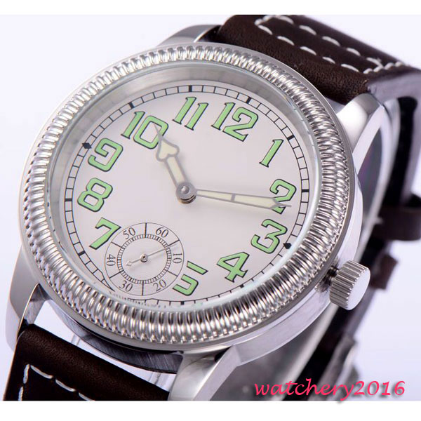 44mm parins White dial Luminous Marks Stainless steel Case 17 jewels 6498 Movement hand winding Mechanical