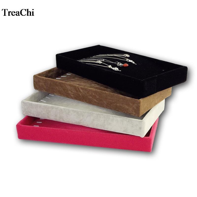 Big Sale Velvet Necklace Holder Case 4 Colors Available Pendant Bracelet Bead Chain Display Organizer Exhibition  Tray 11*22*3cm