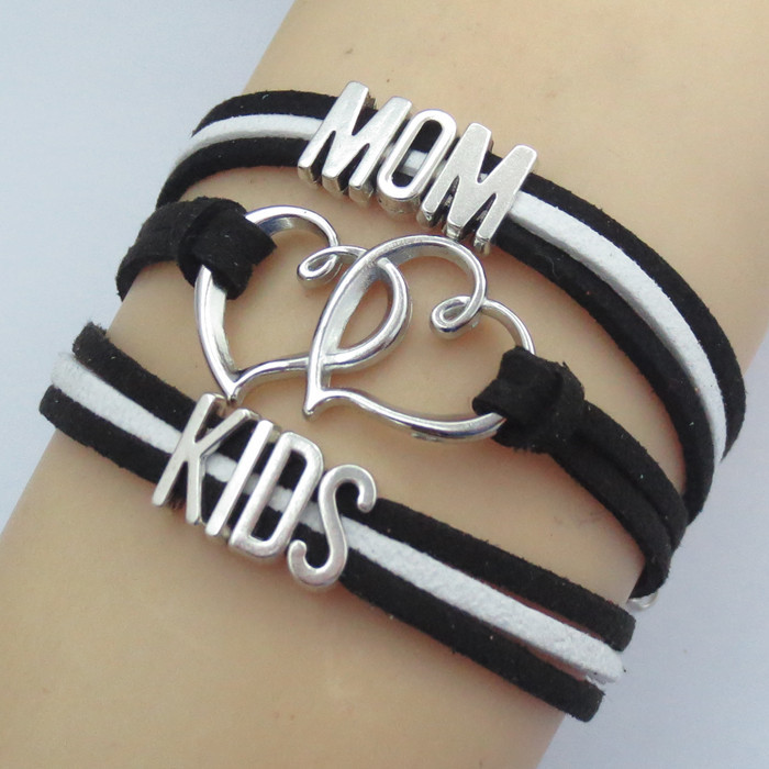 Mama Dog of 1 Pink Box Genuine Magnetic Leather Mama Bracelet Silver