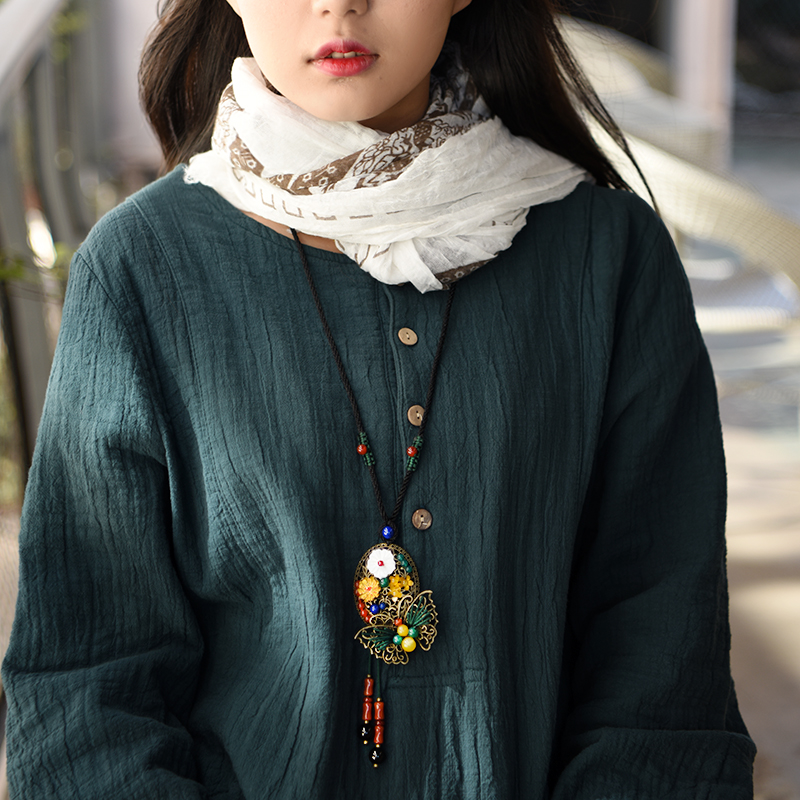 Niedlichen pullover vintage halskette für frauen lange seil kette bronze legierung schmetterling shell blume anhänger mode schmuck neue ankunft