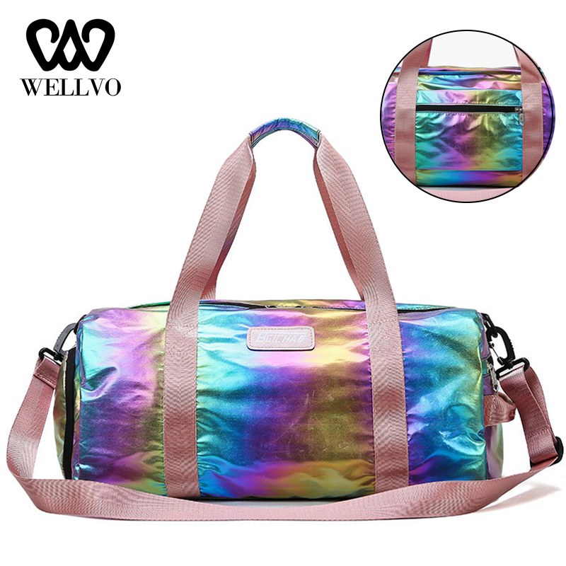 Laser Fitness Colorful Travel Bags Women Gym Bag Ladies Carry On Luggage Lightweight Tote Waterproof Training Duffe Bag XA767WB