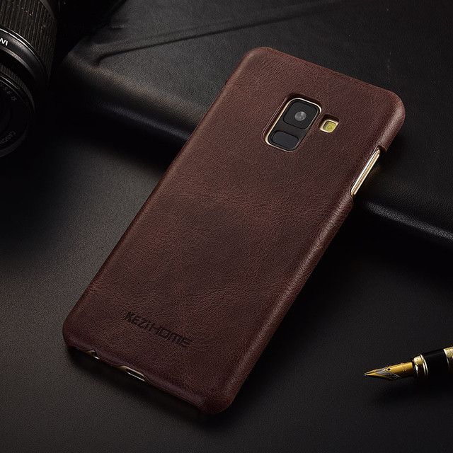 new arrival 2ae31 7dc5a US $10.98 |Luxury brand design retro genuine leather back cover case For  samsung galaxy A8 plus 2018 phone cases and covers shell-in Fitted Cases  from ...