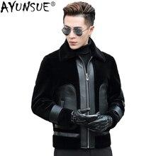 AYUNSUE Real Fur Coat Winter Jacket Men 100%Wool Coat Sheep Shearling Fur Jacket Plus Size Abrigo Hombre Invierno P-1-7331 ZL881