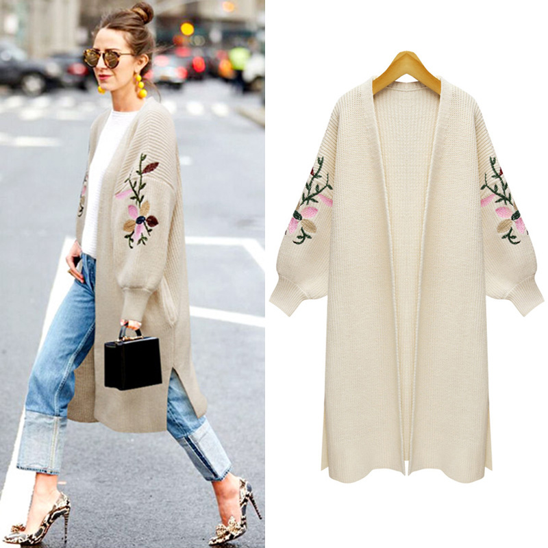 2019 Autumn Winter New Large Size Women's Long Sleeve Knitted Sweater Flower Embroidery Cardigan Loose Warm Coat