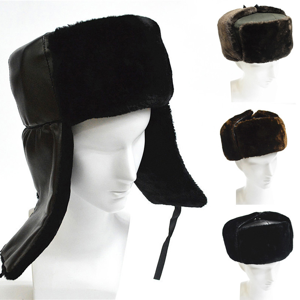 Winter Men Women Hat Thicken Faux Fur Keep Warm Outdoor Windproof Russian Bomber Hats Earflap Ear Flaps Cap HSJ88