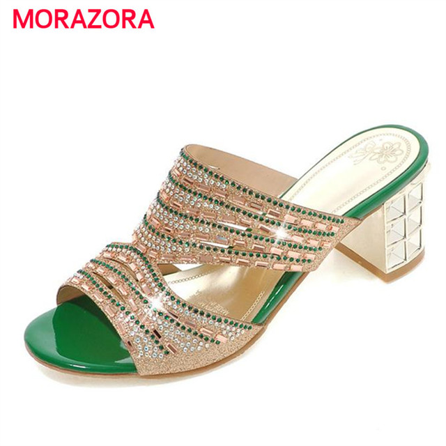 MORAZORA Big size 33-44 Square high heels shoes women sandals summer rhinestone party shoes elegant fashion ladies shoes