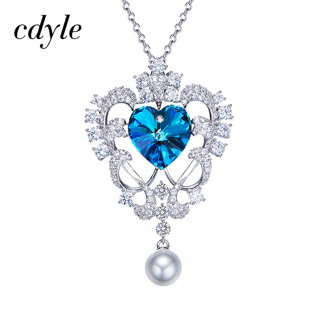 Cdyle sweater necklace women sweater chain crystals from swarovski cdyle sweater necklace women sweater chain crystals from swarovski blue heart shaped simulated pearl pendants romantic aloadofball Images