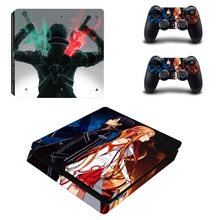 Sword Art Online SAO PS4 Slim Skin Sticker For Sony PlayStation 4 Console and Controllers For Dualshock 4 PS4 Slim Sticker