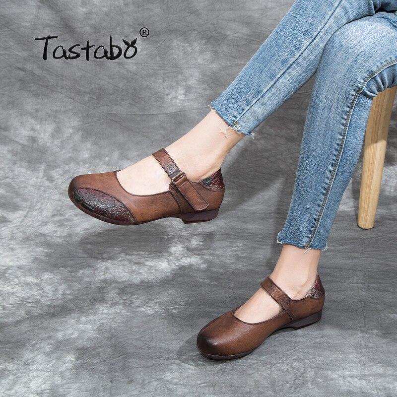 Tastabo 100% جلد طبيعي أحذية نسائية حذاء مسطح البني الأصفر البني S5307 لينة وحيد أحذية قيادة اليومية المنخفضة أحذية بكعب-في أحذية نسائية مسطحة من أحذية على  مجموعة 1