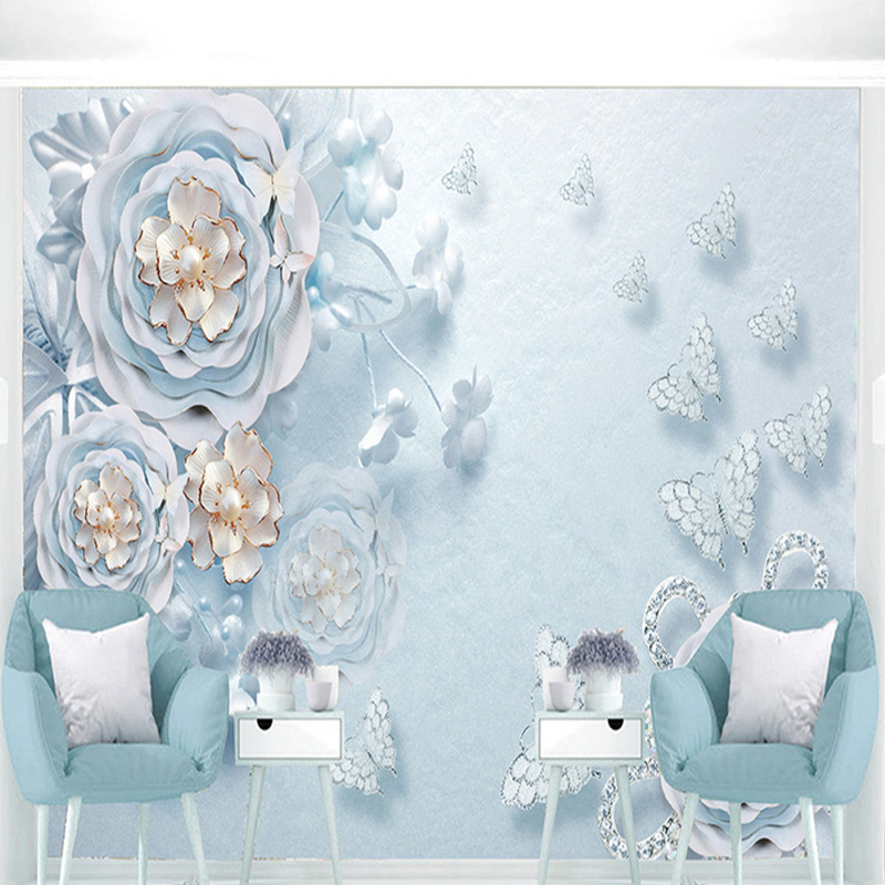 Wedding And Christmas Festival Design Stock Photo Colourbox Source Wallpaper Modern Blue Flowers Romantic Backdrop Wall Mural