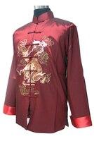 New Arrival Burgundy Chinese Men Silk Saint Jacket Silk Satin Coat Hanmade Dragon Embroidery Tang Suit S M L XL XXL XXXL