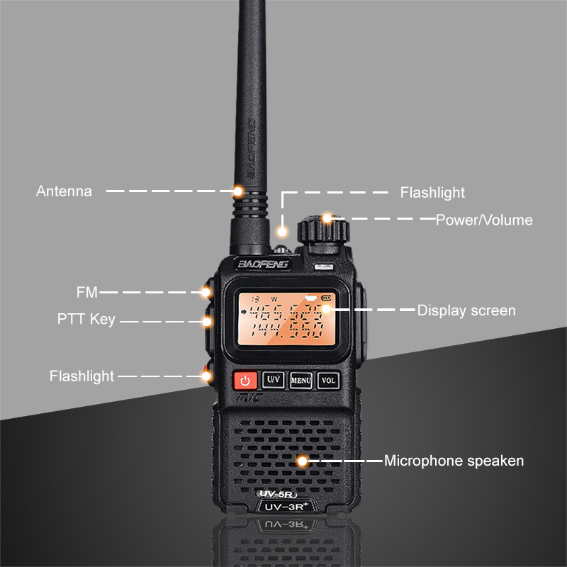 2pcs BaoFeng UV-3R+ Upgrade Version Mini Walkie Talkie Dual Band Dual Display Amateur Radio Amador Ham Two Way Radio Comunicador