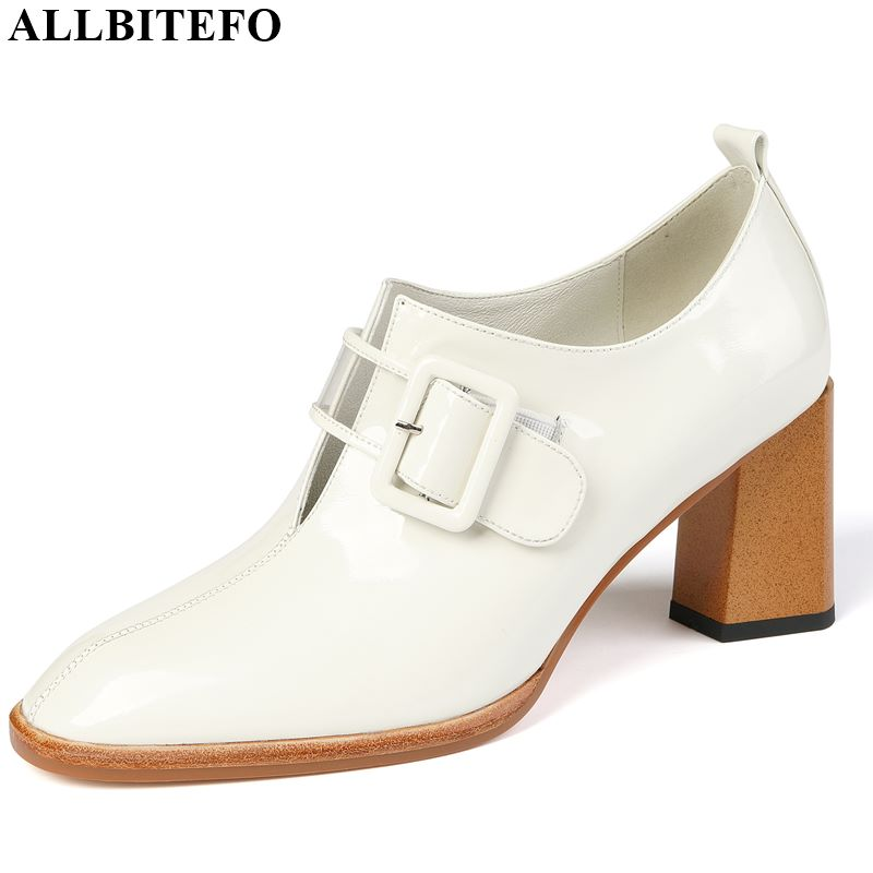 ALLBITEFO Fashion Buckle Genuine Leather Women Heels Office Ladies High Thick Heels Shoes Spring Autumn Charming Girl High Heels