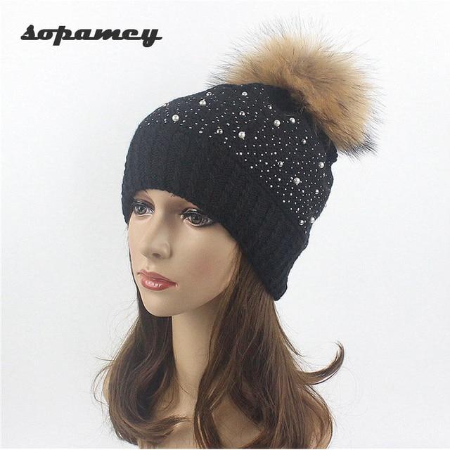 Otoño Invierno de punto de lana sombreros para las mujeres moda Pompon  beanies sombrero de piel e1befbfb8a96