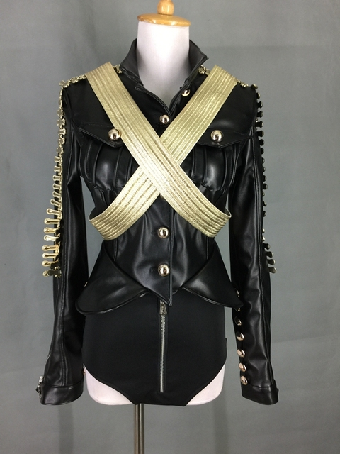 Stage Costumes for Singers Dance Costume Stage Dj Service Beyonc Leather Military Roupa Feminina  Rhinestone Bodysuit 2 Pcs/set