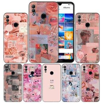 Перейти на Алиэкспресс и купить Розовый эстетический силиконовый чехол для Huawei Honor 8X 8A 9X 9A 9C 9S 10 20 Lite 20 Pro 10i 20i 20S Play Y5 Y6 Y7 Y9 Prime 2019