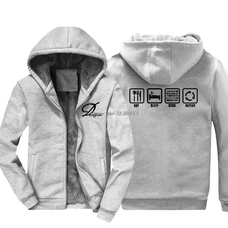 e44570894 ... Funny Eat Sleep Code Repeat Gift For Geek Programmer Hacker Sweatshirt  Casual Men Cotton Thicken Hoodie ...