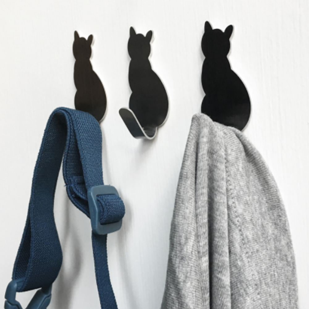 2pcs Self Adhesive Hooks Cat Pattern Storage Holder For Bathroom Kitchen Hanger Stick On Wall Hanging Door Keychain Towel Racks