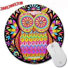 Personalized Spherical colourful Mouse Pad Owls Drawing Stunning Decor Laptop Pocket book Printing Round Mouse Pad Rubber Mat