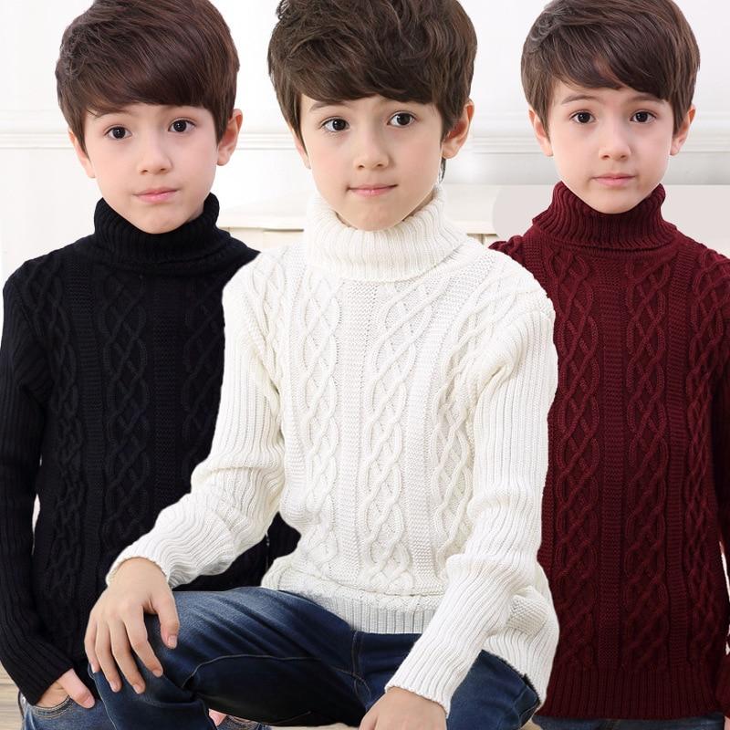 Autumn Winter Boys Clothing Teen Boys Sweater Kids Fashion Turtleneck Sweater Children's Pullovers Outwear Knit Boys Clothing slit turtleneck cable knit midi sweater dress page 2